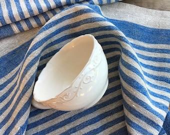 Set of 4 Heavy Linen tea towels, dish towels, kitchen towels, blue striped linen towels, dish towels with blue stripes