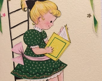 Vintage Birthday Card, Niece , Reading Book, NOS, Kitten, Glitter