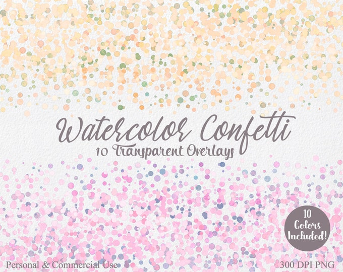 WATERCOLOR CONFETTI BORDER Clipart Commercial Use Clip art 10 Confetti Transparent Overlay Lemon Pink Coral Party Wedding Invitation Clipart