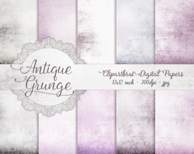 VINTAGE LAVENDER Digital Paper Pack Commercial Use Digital Backgrounds Purple Romantic Antique Distressed Digital Background Textured Papers