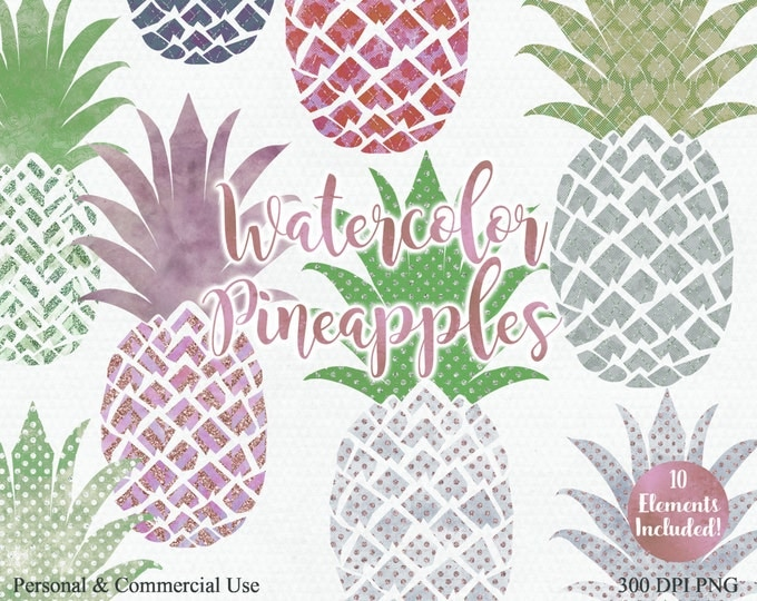 TROPICAL PINEAPPLE Clipart Commercial Use Clip Art Fun Tropical Clipart with Rose Gold Metallic 10 Watercolour Pineapples Planner Clip art