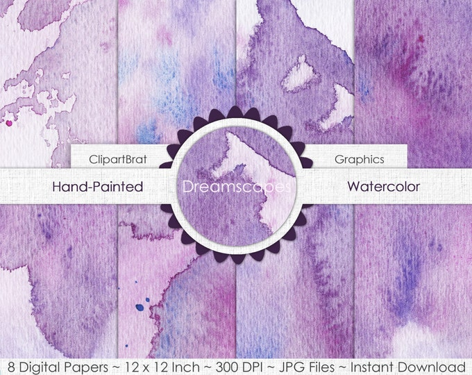 DREAMSCAPES GRAPE WATERCOLOR Digital Paper Commercial Use Paper Pack Purple Splatter Real Watercolor Paper Hand-Painted Digital Background
