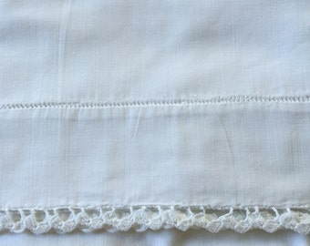Vintage pillowcase white on white crochet trim