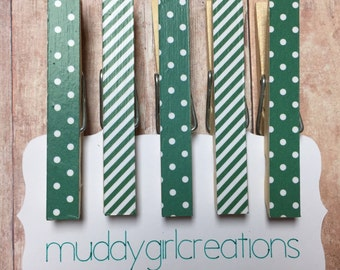 Decorative Clothespin Magnets - Set of 5 - Green and White Striped & Polka Dots - Refrigerator Magnets, Photo Clips, Stocking Stuffer, Gift
