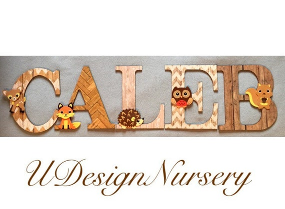 Woodland themed wooden wall letters nursery decor forest for Baby name letters decoration
