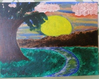 Sunset and a Stream Painting
