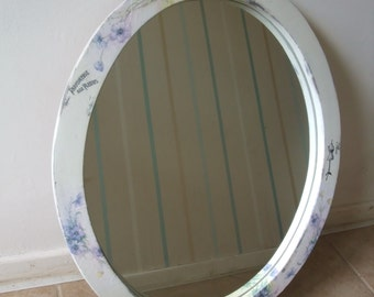 shabby chic oval frame mirror,wooden hanging mirror,oval wall mirror,home decor