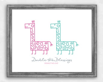 Twin Love - Giraffes (pink/teal)