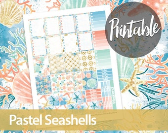 50% off! Pastel Seashells Weekly Kit - Erin Condren Printable Planner Sticker - Ombre To Do Lists, checkboxes, washi and weekend