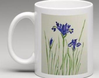 Ceramic Mug, Iris Abstract Watercolor Design, 11 ounce, Office Mug