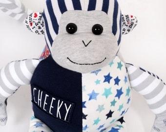 Memory Monkey, Keepsake Monkey, Remembrance Monkey, Cherish bear, Handmade monkey, Baby grow monkey, Memory bear, personalised monkey
