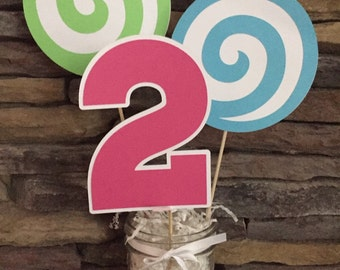 Lollipop Centerpieces Sweet Treat Birthday Party Happy Second Birthday I Am Two