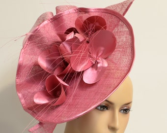 Orchid Floral Sinamay fascinator Kentucky Derby Hat,Kate Middleton Hat, Wedding Hat, Formal Hat, Church Hat