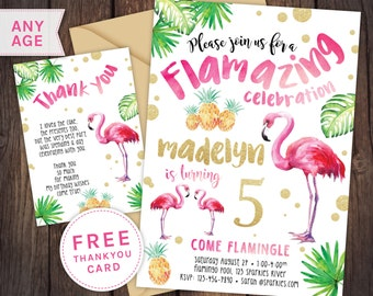 Flamingo invitation, Flamingo party, pool party, pool party invitation, First birthday invitation, pink gold invitation, glitter invitation