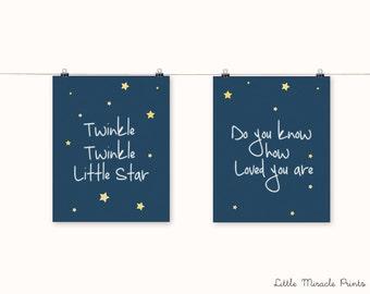 Little Star Art Print,Nursery Poster,Nursery Print,Nursery Art,Home Decor,Nursery Wall Art,Kid Art,Baby  Art, Nursery Set [LMNS0024-P]
