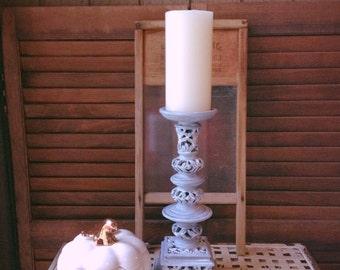 Pillar Candle Holder Slate Gray Whitewashed Shabby Cottage Chic Decor Rustic Decor Decorative Accent