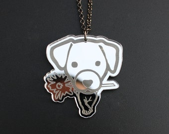 Necklace with pendant dog jack russell Plexiglas mirror - 100% customizable