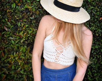 Crochet lace up halter top