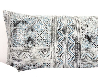 VINTAGE Hmong Pillow Hand Woven HEMP Organic HMONG Ethnic A Piece Of Tribal Textile indigo navy blue batik
