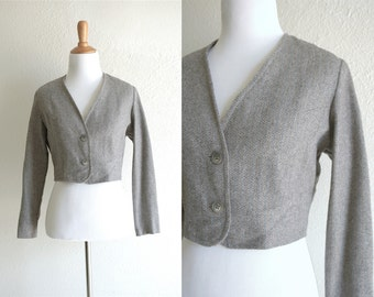 70s Grey Blue Wool Blend Cropped Bolero Jacket Button Up Size Medium