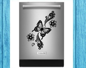 Butterfly Floral Dishwasher Decal, Butterfly Floral Appliance Decal, Dishwasher Decal, Kitchen Decal, Craft Decal, Home Decor Decal