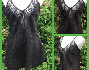 Vintage MAIDENFORM Black Jacquard Print Lacy Chemise Babydoll Nightgown sz L Bust 42""
