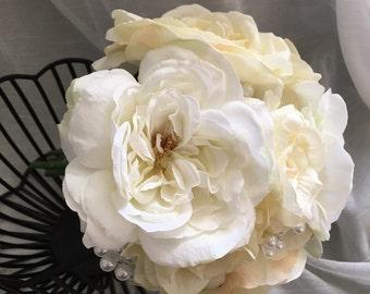 Silk floral wedding bouquet- white