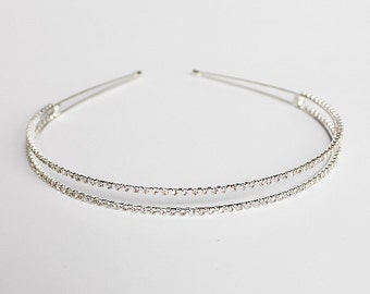 Double hair band, Rhinestone headband, Wedding tiara, Swarovski headband, Wedding headband, Silver bridal headband, Wedding hair accessories