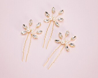 Crystal Hair pin, Bridal Hair pin, Gold hair pins, Bridal hair set, Crystal leaf hair pins, Gold leaf hair pins