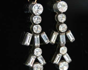 Antique Victorian Long White Paste Earrings - Circa 1900