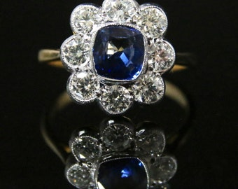 Antique Diamond & Sapphire Ring - 2ct Diamond Cluster 1.60ct Sapphire