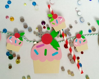 Cupcakes banner, cupcake topper/straw set for an adorable party!