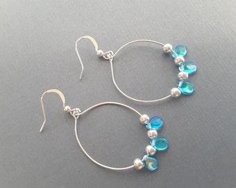 Aqua Teardrops Hoops . Earrings