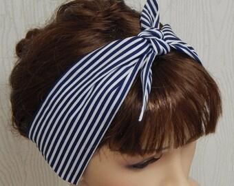 Rockabilly Navy Blue and White Pin Up Headband Striped Head Wrap Retro 50's Hair Scarf