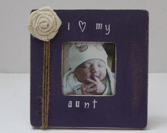Aunt Picture Frame, Purple Photo Frame, Favorite Aunt Frame, Rustic Picture Frame