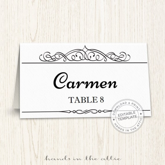 printable place cards template editable seating cards wedding guest cards calligraphic black. Black Bedroom Furniture Sets. Home Design Ideas