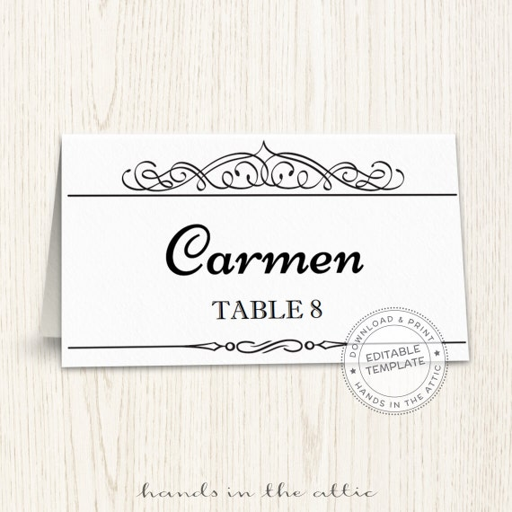 Printable Place Cards Template Editable Seating Cards Wedding - Seating card template
