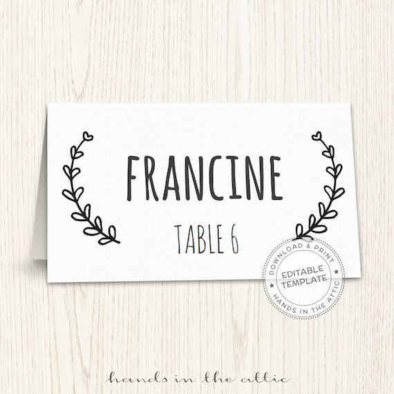 Wedding place cards, editable seating cards, printable seating cards ...
