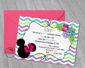 minnie luau, birthday, invitations, invites, minnie, flowers. summer , luau party