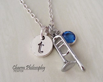 Trombone Necklace - Instrument Jewelry - Silver Jewelry - Monogram Initial and Personalized Birthstone