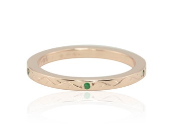 Rose Gold Wedding Band - 40% off - OBO - Hand Engraved Vine Ring in Rose Gold with Bezel set Emeralds - On SALE from Laurie Sarah - LS3131