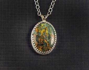 Chrysocolla Gemstone Cabochon Pendant Set in Sterling Silver