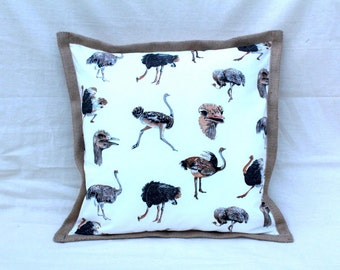 Ostrich Cushion with Hessian Edging