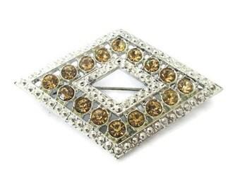 Topaz Brooch, Vintage Crystal Pin, Diamond Shaped, Silver Tone, Mid Century Brooch, 1960s