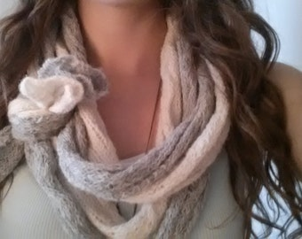 Grey and White Bow Cowl