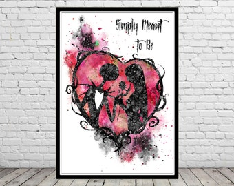 The Nightmare Before Christmas inspired, Jack and Sally, Quote, Watercolor print,Nursery art, Kids Room Decor, Poster, print(1270b)