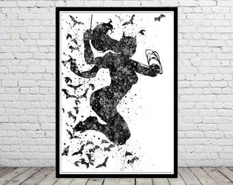 Batgirl inspired, watercolor Batgirl, Batgirl print, Batgirl art, Superhero, Wall Art,Poster, Home Decor, kids Room Art (1282b)