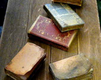 Dollhouse Miniature Books Aged 1:12 Large Set of 3 Bound Library Mini Leather-Look Hardcover Vintage 1/12 Victorian Spell Study Spellbooks