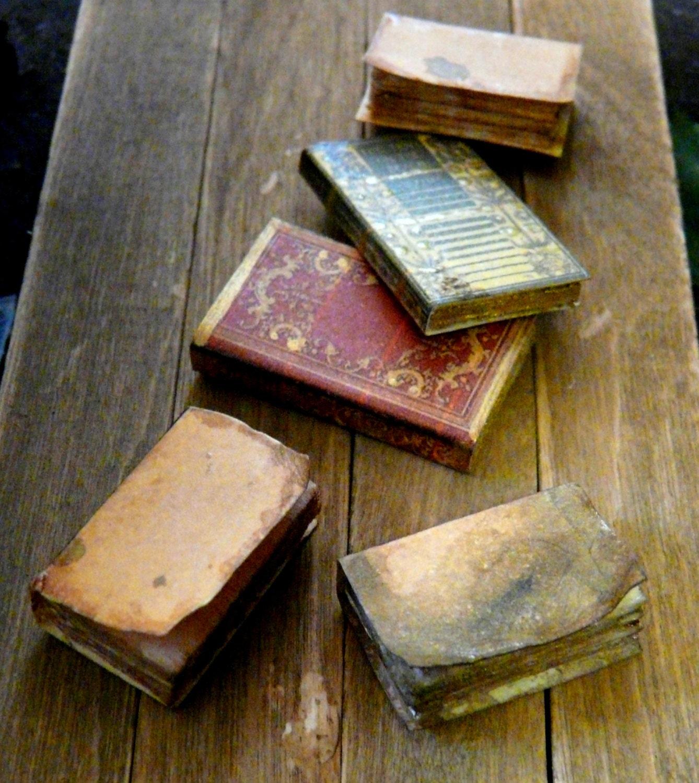 Dollhouse Miniature Books Aged 1:12 Large Set Of 3 Bound