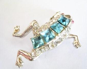 Rhinestone Frog Pin